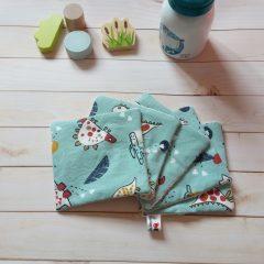 lingette lavable coton biologique motif dinosaure