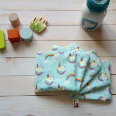 lingette lavable coton biologique motif licorne