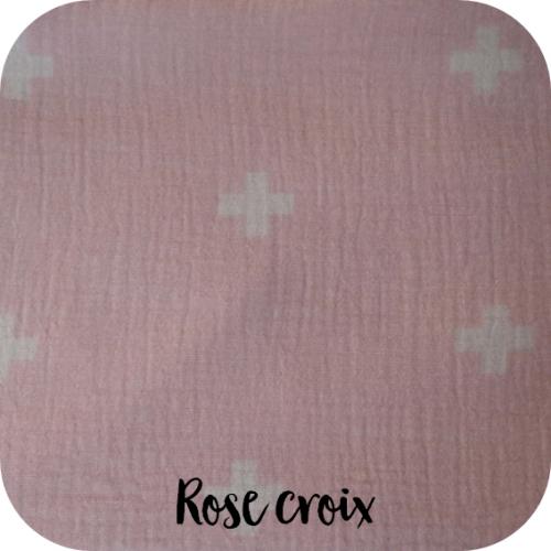 double gaze coton bio rose croix